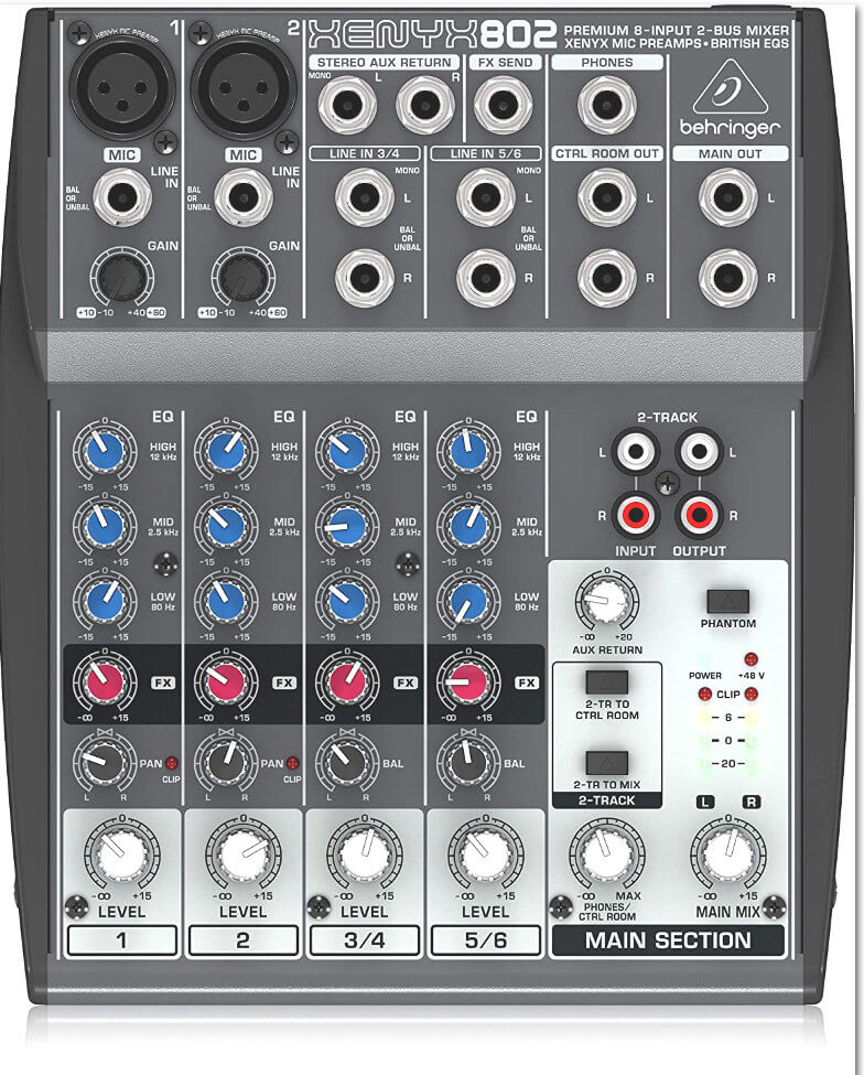 Behringer Xenyx 802 Compact Mixing Console Top View