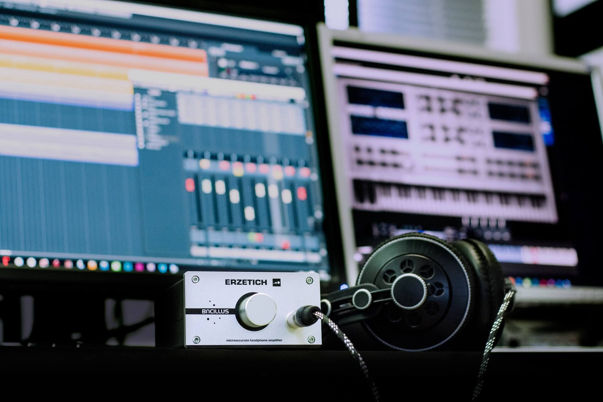 Picture of Headphones and Recording computer DAW