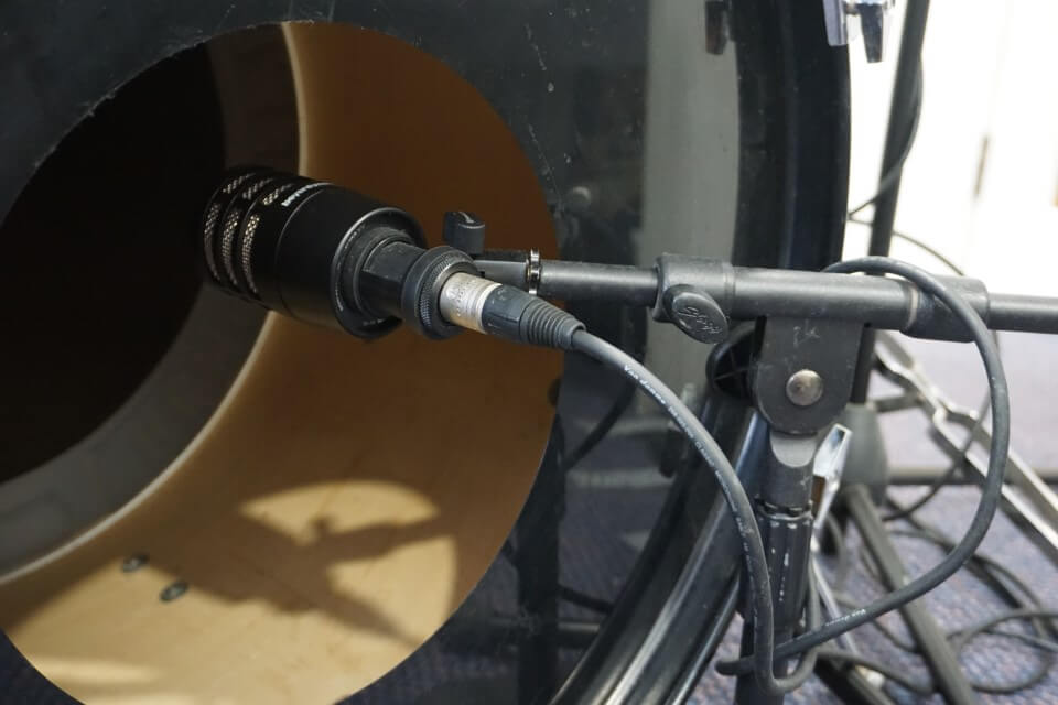 Kick Drum Microphone placement - inside hole in front of drum