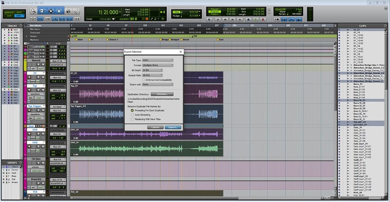Pro Tools exporting individual tracks as stems