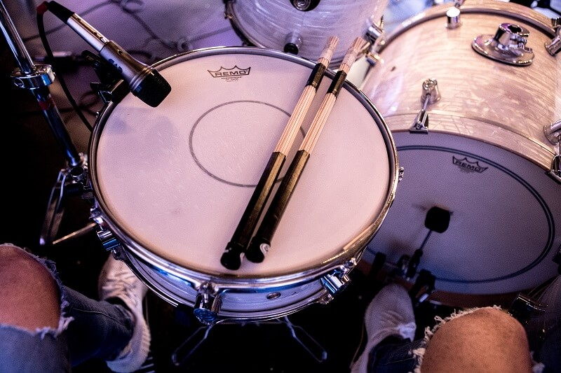 White drums from top showing snare mic position