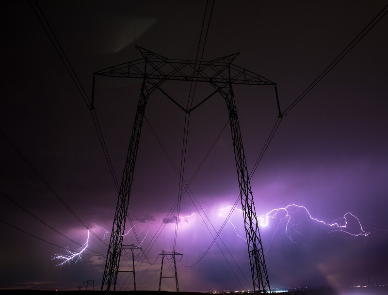 Image of Lightning Strike on Electric Power lines