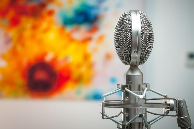 Silver condensor microphone in shock mount
