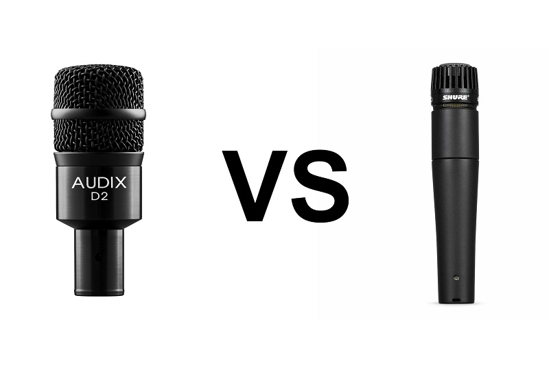 Comparison between Audix d2 microphone and Shure SM57 microphone